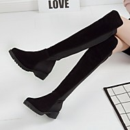 נשים מגפיים נוחות PU אביב יומיומי שחור שטוח
