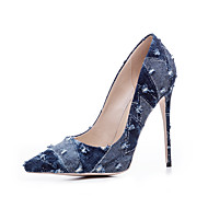 Femme Chaussures à Talons Escarpin Basique Vrai cuir Eté Automne Décontracté Noir Bleu de minuit Bleu clair 10 à 12 cm