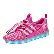 Para Meninas Tênis Tênis com LED Tule Primavera Outono Casual Caminhada Tênis com LED Rasteiro Preto Verde Rosa claro Preto/Vermelho