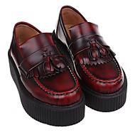 """נשים נעליים ללא שרוכים נוחות עור סתיו קזו'אל נוחות עקב עבה שחור בורדו ס""""מ 5 - ס""""מ 7"""