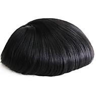 Cienka skóra męska torebka prawdziwe ludzkie włosy kawałki dla mężczyzn # 1 ludzkie włosy męskie perukę