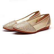 Damen Loafers & Slip-Ons Komfort Tüll Stoff Frühling Sommer Normal Komfort Perlenstickerei Glitter Flacher Absatz Gold Rosa Flach