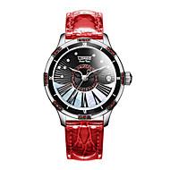 Dames Modieus horloge mechanische horloges Automatisch opwindmechanisme Leer Band Wit Rood Bruin