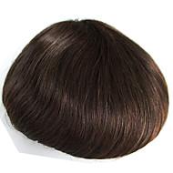 Menneskehår toupee for menn med gjennomsiktig tynn hud pu 8 x 10 rette hårstykker for menn # 3 hår erstatningssystem