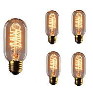 5pcs t45 e27 40w glødende vintage edison pære til restaurant klubb kaffebarer lys ac110-130v
