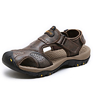 Men's Sandals Comfort Nappa Leather Summer Athletic Outdoor Water Shoes Comfort Magic Tape Flat Heel Brown Dark Brown Khaki Flat