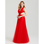 2017 TS Couture Evening Party Formal Dress - Beautiful Back Sexy A-line V Neck Floor-length Tulle with Pleats Side Draping