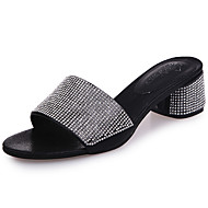 Damen Slippers & Flip-Flops Glanz PU Sommer Walking Strass Blockabsatz Gold Schwarz Silber 5 - 7 cm