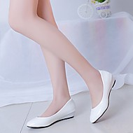 Damen Loafers & Slip-Ons Komfort Lackleder Frühling Sommer Normal Komfort Keilabsatz Weiß Schwarz Flach