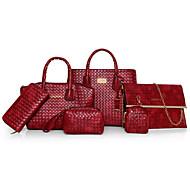 Žene Bag Setovi Druge vrste kože Sva doba Ležerni Školjka Volani Patent-zatvarač Plava Crn Red Bež Braon