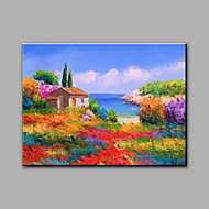 Hand-Painted Mediterranean Landscape Seashore One Panel Canvas Oil Painting For Home Decoration