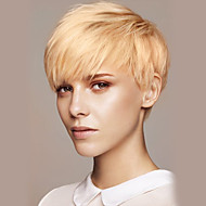 Femme Perruques capless à cheveux humains Beige Blonde // Blond Platine Court Raide Coupe Lutin Avec Frange