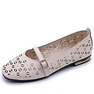 Dame Flate sko Lette såler PU Sommer Avslappet Formell Gange Lette såler Flat hæl Kilehæl Hvit Beige Rosa Flat