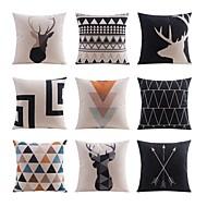 9 יח פשתן ציפית לכרית כיסוי כרית כרית למיטה כרית גוף כרית מסע כרית הספה,רשת / דפוסים משובץ תבנית גאומטרית Wildlifeאומנותי מופשט