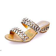 Women's Leather Spring Summer Fall Dress Rhinestone Low Heel Gold Black Sliver 1in-1 3/4in