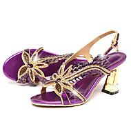 Damen Sandalen Komfort Neuheit Leder Sommer Herbst Normal Kleid Walking Komfort Neuheit Strass Schnalle Stöckelabsatz Gold Purpur 5 - 7 cm