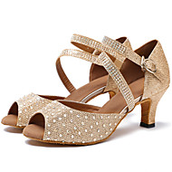 Women's Latin Dance Shoes Customized Heels Rhinestone Ballroom Tango Dancing Shoes Sandals Khaki White1 - 1 3/4 2 - 2 3/4 3 - 3 3/4