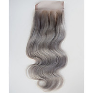 4x4 Body Wave Lace Closure Gray Human Hair Closures Free Part Middle Part Three Part Grey Closure