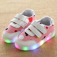 Para Meninas Tênis Tênis com LED Couro Tule Primavera Verão Outono Casual Caminhada Tênis com LED Velcro LED Salto BaixoCinzento Claro