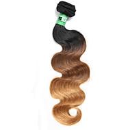 Emberi haj Brazil haj Ombre Hullámos haj Póthajak 1 darab Fekete / Medium BROWN / Strawberry Blonde