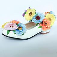 女の子-ウェディング ドレスシューズ パーティー-エナメル-フラットヒール-コンフォートシューズ アイデア フラワーガールの靴-フラット-ホワイト
