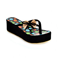 Women's Shoes Fleece Summer Comfort Slippers & Flip-Flops Wedge Heel With For Casual Black Blue