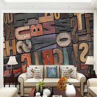 Houtnerf Letter & Nummer Behang voor thuis Hedendaags Behangen , Canvas Materiaal lijm nodig Muurschildering , Kamer wandbekleding