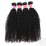 人毛 ブラジリアンヘア 人間の髪編む カーリー Kinky Curly ヘアエクステンション 4 ブラック