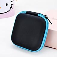 1 pc soild color square headphone zipper storage bag