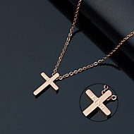 Ten small smooth titanium necklace rose gold cross women's delicate collarbone chain Korea fashion accessories gifts