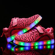 Lány Tornacipők Kényelmes Világító cipők Tüll Tavasz Nyár Ősz Tél Hétköznapi Gyalogló Fűző LED Alacsony Fekete Kék Rózsaszín 1 inch alatt