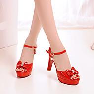 Damen Schuhe PU Frühling Komfort High Heels Stöckelabsatz Runde Zehe Mit Für Normal Weiß Schwarz Rot
