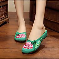 Feminino Chinelos e flip-flops Conforto Tecido Verão Casual Preto Vermelho Verde Rasteiro