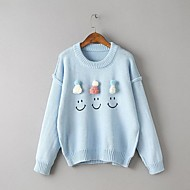 Damen Standard Pullover-Ausgehen Lässig/Alltäglich Einfach Niedlich Solide Druck Rundhalsausschnitt Langarm Baumwolle Frühling Herbst