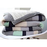 ニット 縞柄 コットン100% 毛布