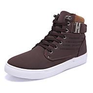 Heren Sneakers Comfortabel Lichtzolen PU Lente Zomer Herfst Winter Causaal Wandelen Gesp Platte hak Grijs Bruin Groen zwart/wit Khaki Plat