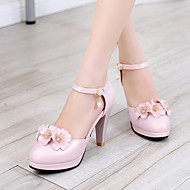 Women's Shoes PU Spring Comfort Heels Stiletto Heel Round Toe With For Casual White Blue Blushing Pink