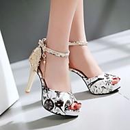 Naiset Kengät Nupukkinahka PU Kesä Comfort Sandaalit Kanssa Käyttötarkoitus Kausaliteetti Musta Punainen Sininen