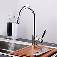 Contemporary LED Classic Pullout Spray Rotatable with  Ceramic Valve Deck Mounted Chrome Finish Kitchen faucet