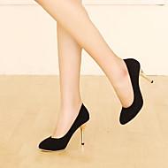 Feminino Sapatos Couro Ecológico Verão Conforto Saltos Salto Agulha Dedo Apontado Com Para Casual Preto Marron Vermelho