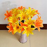 1 ענף פלסטיק חבצלות פרחים לשולחן פרחים מלאכותיים