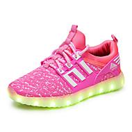 Para Meninas Tênis Tênis com LED Tule Primavera Outono Casual Caminhada Rasteiro Preto Verde Rosa claro Preto/Vermelho Rasteiro