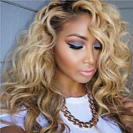 Női Emberi hajból készült parókák Emberi haj Csipke Csipke korona, szőtt 130% Sűrűség Hullámos Hullámos haj Paróka Fekete / Bleach Blonde