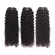 人毛 ブラジリアンヘア 人間の髪編む カーリー ヘアエクステンション 3個 ブラック
