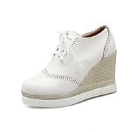 Naiset Oxford-kengät Uutuus Gladiaattori Kevät Syksy Tekonahka Kausaliteetti Puku Neulottu pitsi Solmittavat Kiilakorko Valkoinen Musta