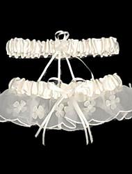 Strumpfband Satin Perlenstickerei Schleife Weiß