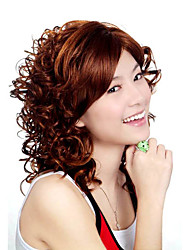 Capless Medium Length Synthetic Golden Brown Curly Hair Wig
