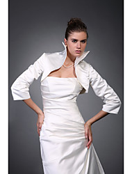 Wedding  Wraps Coats/Jackets 3/4-Length Sleeve Satin Ivory Wedding High Neck T-shirt Open Front