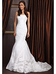 Mermaid / Trumpet Strapless Court Train Taffeta Wedding Dress with Beading by LAN TING BRIDE®