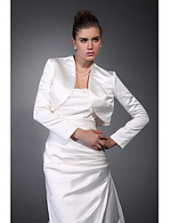 Long Sleeves Satin Bridal Evening Jacket/ Wedding Wrap Bolero Shrug